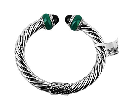 david-yurman-amazing-cable-classic-rondelle-85-mm-bracelet-green-black-onyx-new