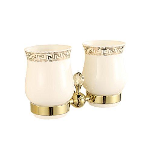 Ceramic Wall Toothbrush Holder (OWOFAN Tumbler Toothbrush Holder With Double Ceramics Cups Wall Mouned Bathroom Shelf Crystal Deco Brass Gold HK-32K)