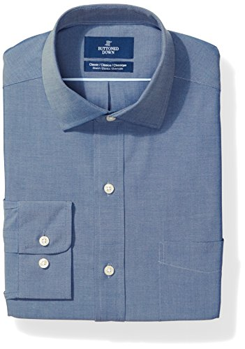 BUTTONED DOWN Men's Classic Fit Stretch Poplin Non-Iron Dress Shirt, Denim Blue, 20