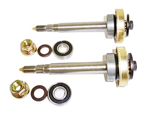 Spindle Shaft Assembly - 2 (Two) Complete Lawnmower Shaft Assemblies Replaces 187291 532187291 192872 532192872 w/Both Bearings Blade Bolt Locknut Spacer