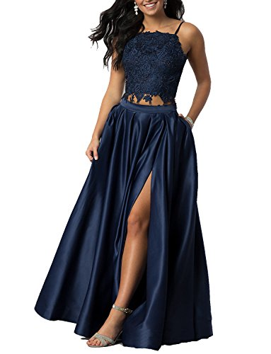4ebb4d6b95 Monalia Womens 2018 Long Prom Dress 2 Piece Lace Party Homecoming Dresses  MP100 Size 14 Navy Blue