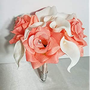 Calla Lily Coral Reef Rose Bridal Wedding Bouquet & Boutonniere 47