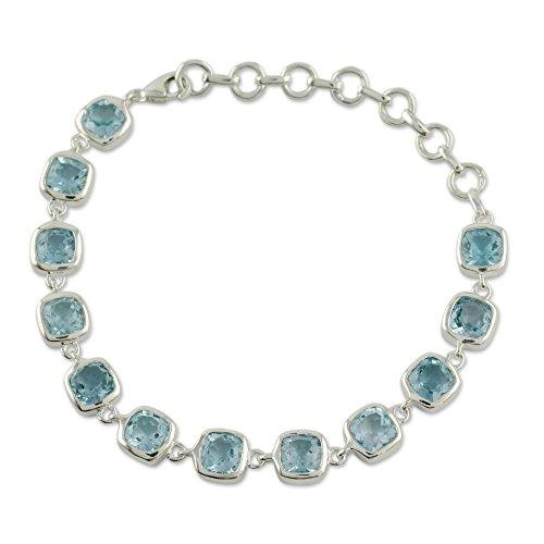 - NOVICA Blue Topaz .925 Sterling Silver Link Bracelet, 6