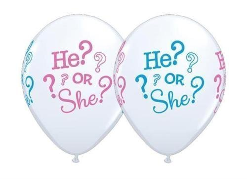 He or She Gender Reveal Baby Shower 11 Inch Qualatex Latex Balloons by Qualatex by Qualatex