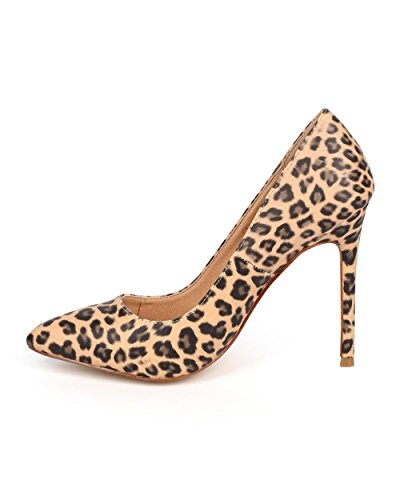Liliana Da75 Donna Leopardo Similpelle Punta A Punta Suola Singola Pompa A Spillo - Leopardato