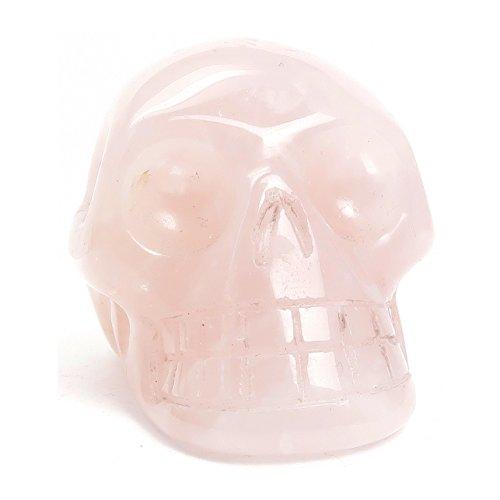 Rose Quartz Skull 05 - Pink Crystal Healing Stone (1.9 Inches)