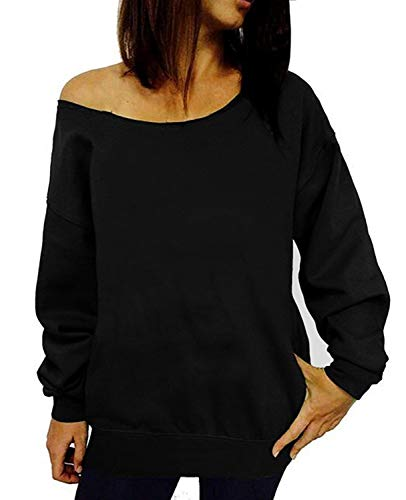 LYXIOF Womens Off Shoulder Sweatshirt Slouchy Shirts Wifey Sweatshirts Sexy Sweaters Long Sleeve Pullover Tops Black A L