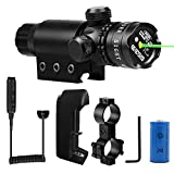 Shockproof 532nm Tactical Green Dot Laser Sight Rifle Scope with Rail and Barrel Mounts Cap Pressure Switch with Battery Charger
