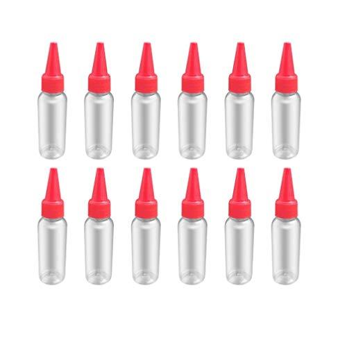 Healifty 12er Spitzenapplikatorflasche mit Verschluss Plastikquetschflasche für Kunsthandwerkskleber - rot 40ml