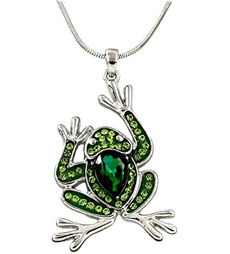 "DianaL Boutique Frog Pendant Necklace with 21"" Chain Emerald Green and Peridot Color Crystals Rhodium Plated Fashion Jewelry"