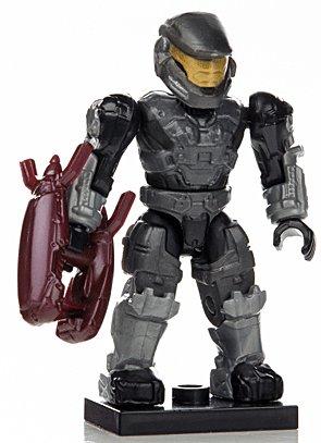HA14-B1 Halo Wars Mega Bloks LOOSE Mini Black UNSC Spartan Mark V with Energy Rifle [Series 7]