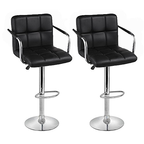 Gotobuy Set of 2 Breakfast Faux Leather Bar Stools Swivel Kitchen Stools Pub Chair w/ Armrest Black (Bar Table And Breakfast Stools Set)
