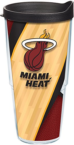 (Tervis 1200696 NBA Miami Heat Court Tumbler with Wrap and Black Lid 24oz,)
