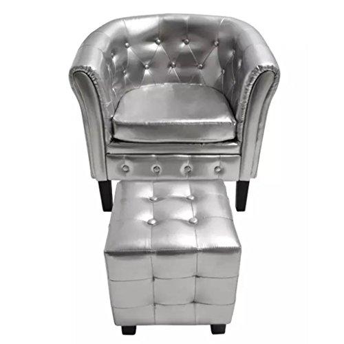vidaXL Silver Tufted Tub/Barrel Design Armchair Club Chair Accent w/Ottoman Foot Stool