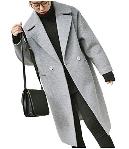 Turn Rkbaoye Outwear down Mid Winter Women Woolen Coat Grigio Thick Loose Collar 1x1TqX