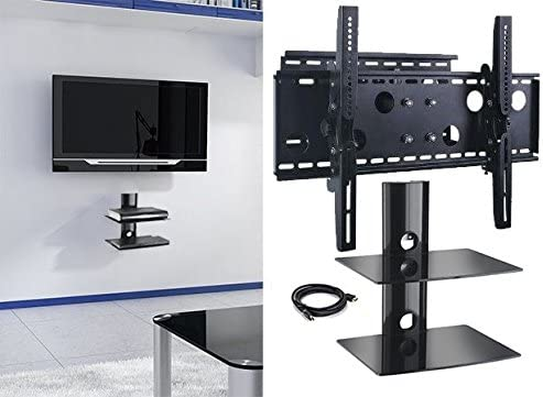 2xhome NEW TV Wall Mount Bracket Single Arm Two 2 Double Shelf Package Secure Low Profile Cantilever LED LCD Plasma Smart 3D WiFi Flat Panel Screen Monitor Moniter Display Large Displays – Long Swing Out Single Arm Extending Extendible Adjusting Adjustable – Dual 2 Tier Under TV Tempered Glass Floating Hanging Shelves Shelving Unit Rack Tower Set Bundle – Full Motion 15 degree degrees Tilt