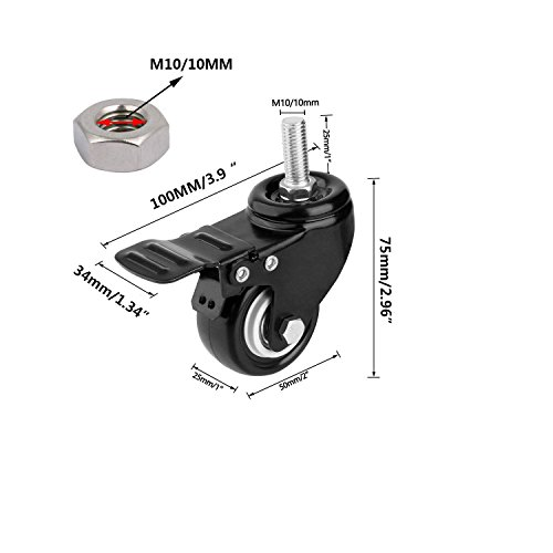 SpzcdZa 2 inch Heavy Duty Swivel Caster Wheels PU 360 Degree Threaded Stem Caster Wheel with Shopping Wheel Trolley Brake Swivel Caster(M10 x 25mm, 110lb Capacity)-Pack of 4 by SpzcdZa (Image #1)
