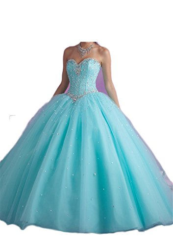 Chupen Women's Silvery Beaded Ball Gown Quinceanera Party Dresses Teal 2