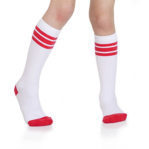 Baby, Toddler & Kids Knee High Tube Socks For Boys & Girls With Grips (6-10 Years (Size 1-7), White/Red)]()
