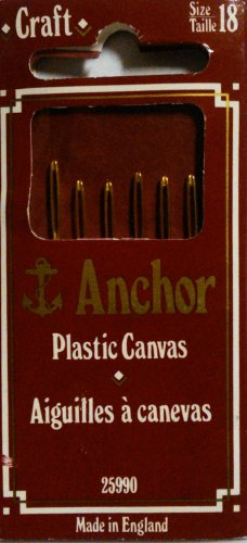 Anchor Plastic Canvas Sewing Needles- Size 18 With Gold Eye ,6/pk
