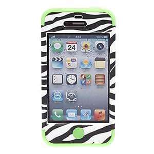 CECT STOCK 2-en-1 caso duro del diseño de la cebra-raya con silicona suave Dentro del modelo del caso para el iPhone 4/4S (colores surtidos) , Rosado