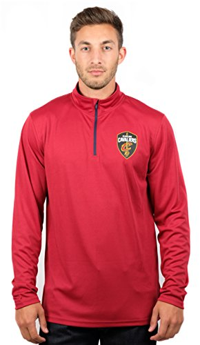 fan products of NBA Men's Cleveland Cavaliers Quarter Zip Pullover Shirt Long Sleeve Tee, Medium, Red