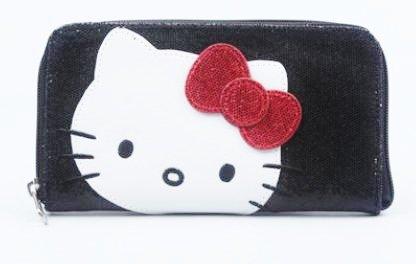 Hello Kitty Black Disco Snake skin Sparkle Large Zip Around Wallet