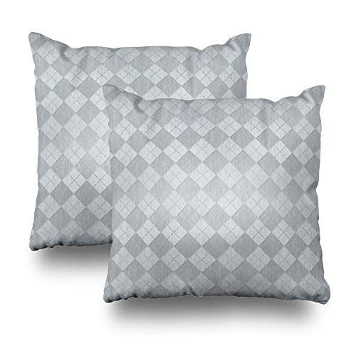 WAYATO Set of 2 Pillow Case Cotton Polyester Blend Throw Pillow Covers Elegant Brushed Silver Metal Look Argyle Bed Home Decor Cushion Cover 18X18 Inch ()