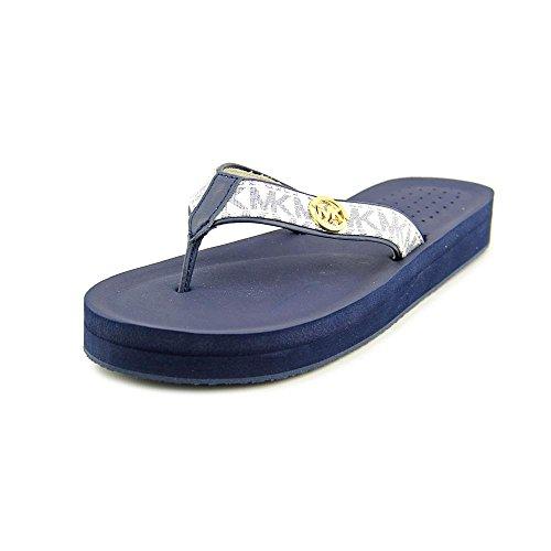 Thongs Leather Kors Michael (MICHAEL Michael Kors Womens Gage Flip Flop White/Navy 8 M)