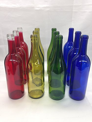 12 - Mixed Bottles 750 ML Red Blue Green Yellow for Crafting, Parties, Bottle Trees, Vases, Mosaics, Home Brew ()
