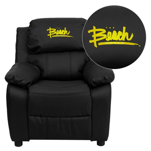 Flash Furniture California State University - Long Beach 49ers Embroidered Black Leather Kids Recliner with Storage - Recliner Kids Nba