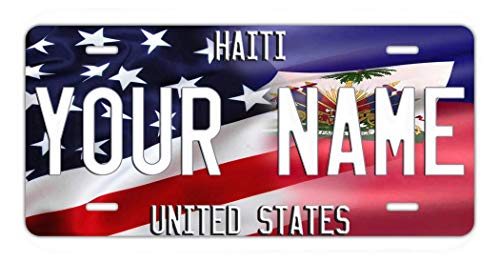 Frame Blue Prince (BRGiftShop Personalize Your Own Mixed USA and Haiti Flag Car Vehicle 6