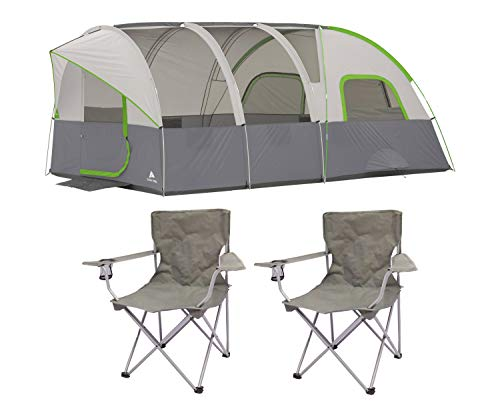 OZARK TRAIL 16' x 8' Modified Dome Tunnel Tent, Sleeps 8 Bundle Quad Folding Camp Chair 2-Pack (Ozark Trail 16 X 16 Cabin Tent)