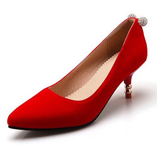VogueZone009 Damen Spitz Zehe Ziehen auf Nubukleder Eingelegt Mittler Absatz Pumps Schuhe, Rot, 37