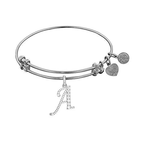 Angelica White Rhodium Over Brass Letter - B Adjustable Bangle Bracelet - 7.25 Inches