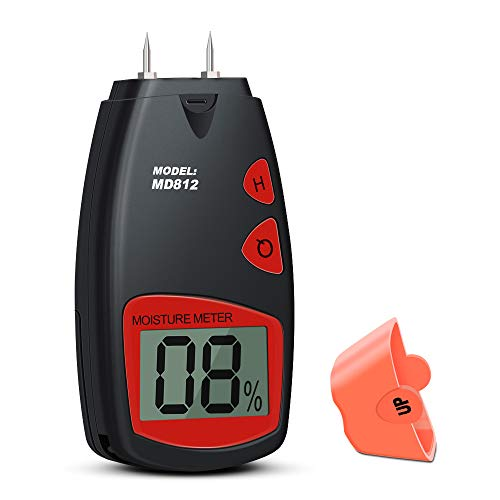 - Wood Moisture Meter, Digital Portable Wood Water Moisture Tester, Digital Large LCD Display with 2 Spare Sensor Pins, Date Hold Function and Low Power Indication, one 9V Battery with Carrying Bag