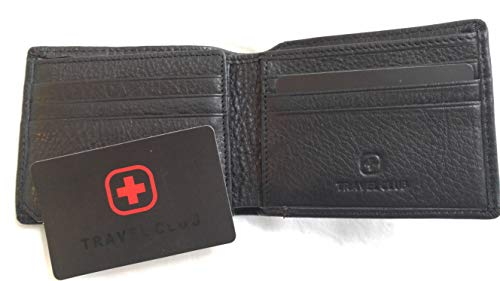 Swiss Travel club Mens Leather RFID Blocking Flipout ID Wallet Bifold Trifold Hybrid (BLACK)