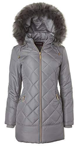 - Women's Long Down Alternative Puffer Coat Zip-Off Plush Lined Fur Trim Hood - Titanium (X-Large)