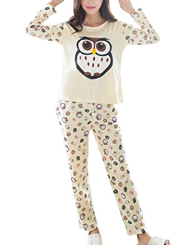 VENTELAN Women's Cute Owl Printed Sleepwear Pajamas Leisure Comfort Nightgown (Leisure Suits For Sale)