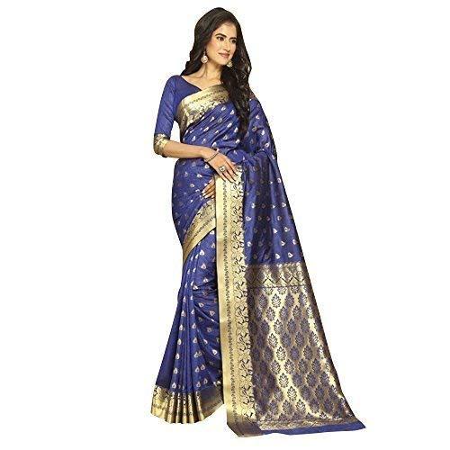 (Craftsvilla Silk Saree with Blouse Piece (MCRAF32513824840_Blue_Free Size))