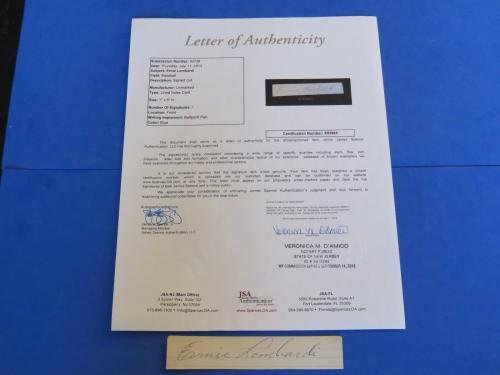 "ERNIE LOMBARDI SIGNED CUT INDEX CARD LOA X82668 1""x5 JSA Certified MLB Cut Signatures"
