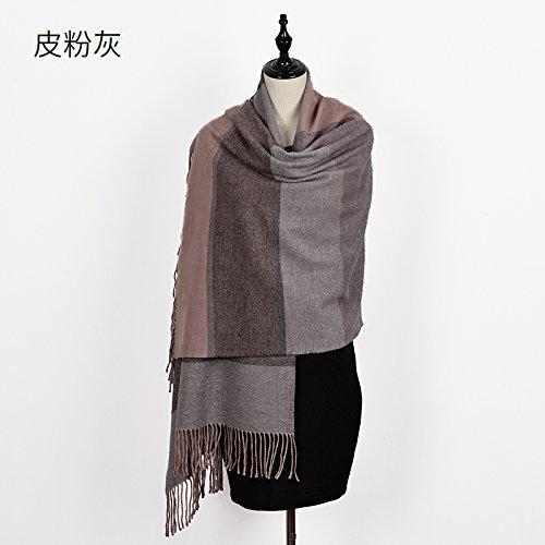 (FLYRCX Autumn and Winter Thickening Warm Like Cashmere Lattice Fringed Scarf Lady Long Shawl 180cmx65cm,B )
