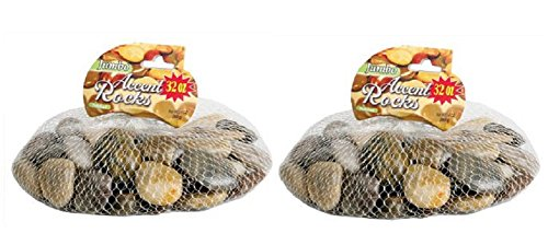 Crafters Square Polished Multi-Toned River Rock, 32 oz x 2 = 64 oz Total, 2 Bags by Crafters Square