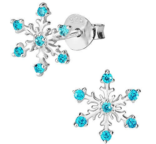 Hypoallergenic Sterling Silver Aqua CZ Simulated Diamond Snowflake Earrings for Kids