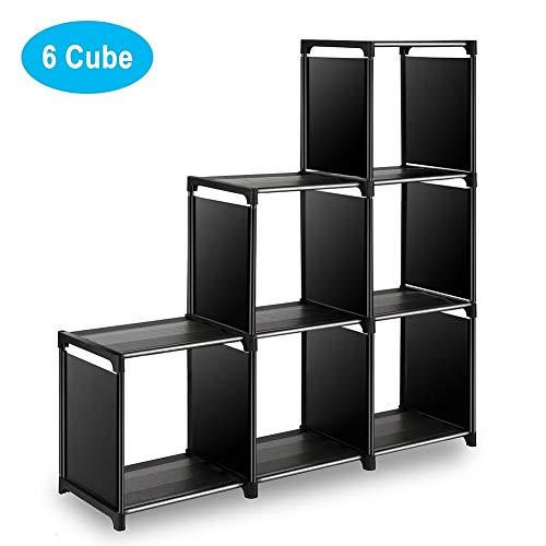 Wishwill Cube Storage 6-Cube Closet Organizer Storage Shelves Cubes Organizer DIY Plastic Closet Cabinet Modular Bookshelf Organizing Storage Shelving for Bedroom Living Room Office, Black (Storage Cube Holder)