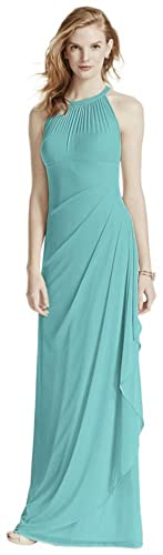 Sleeveless Long Mesh Bridesmaid Dress with Illusion Neckline Style F15662