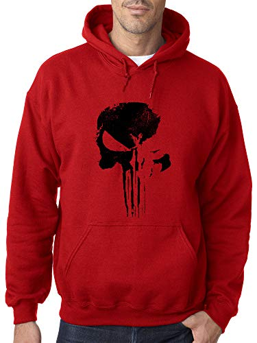 New Way 1153 - Adult Hoodie Daredevil Punisher Skull Blackout Logo Unisex Pullover Sweatshirt 2XL Red