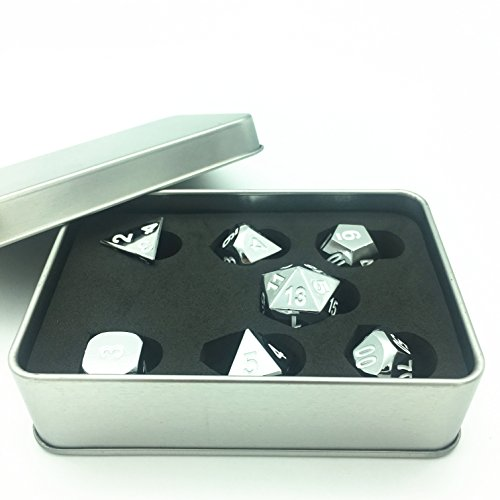 Chrome Dice (Truewon Metal Dice Set of 7 With Metal Case (Chrome Surface White Numbers))