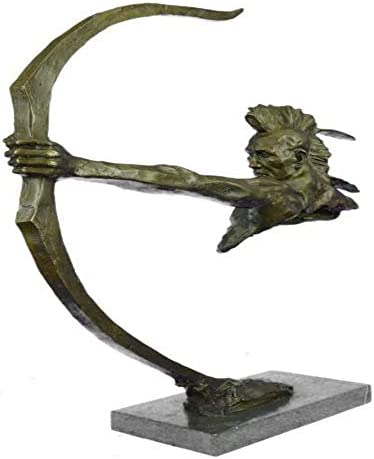 Charming Bronze Indian Warrior with Bow and Arrow