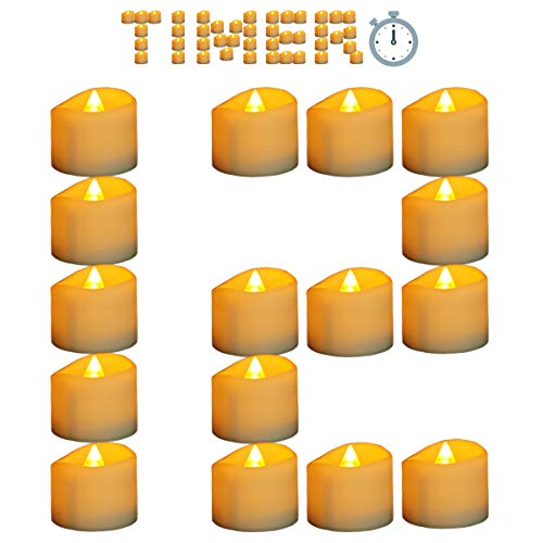 Micandle Yellow Votives Timer Candle for Thankgiving Christmas Day,6 Hours on and 18 Hours Off in 24 Hours Cycle,12Pcs Flickering Battery Operated Tea Lights for Church Home Tabel Decor